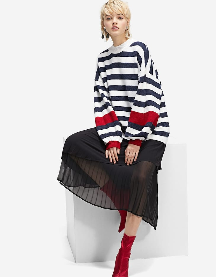 Striped sweater with balloon sleeves