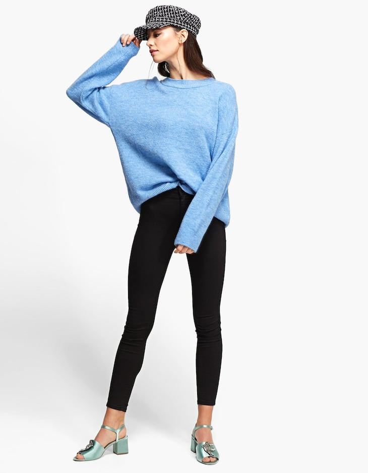 Oversized round neck felted sweater