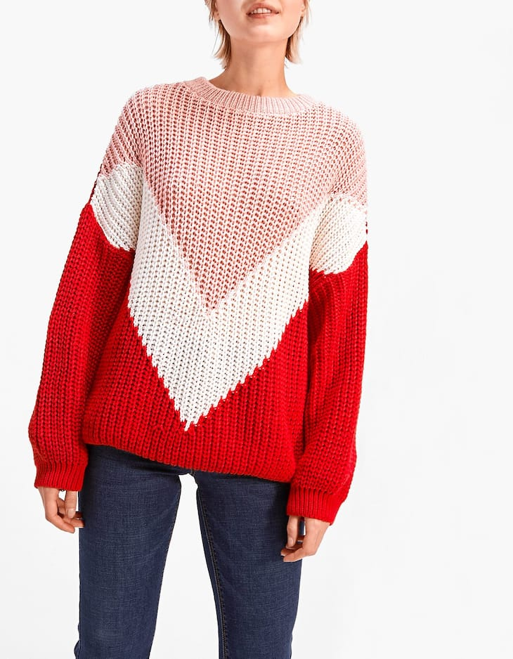 Round neck intarsia sweater