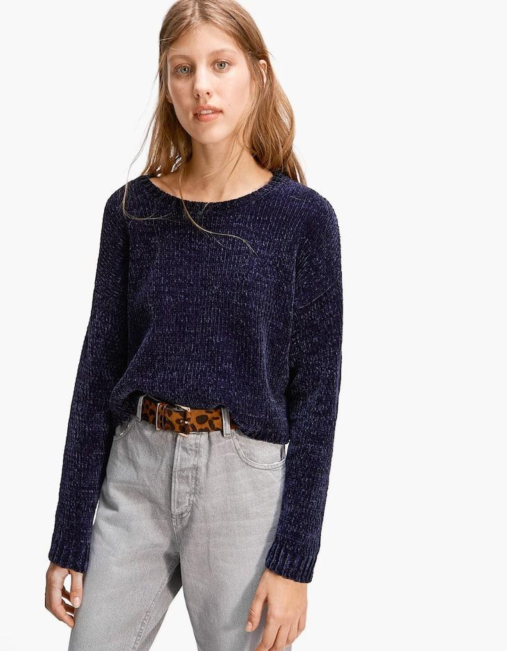 Pullover cropped in ciniglia