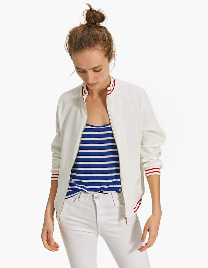 Bomber jacket with striped ribbing