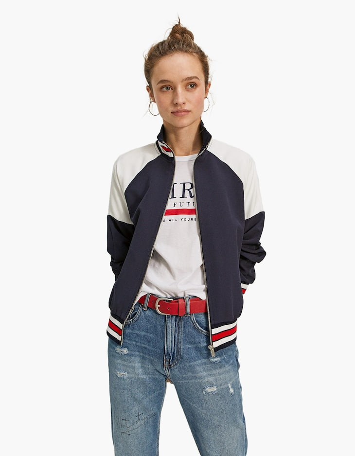 Colour block bomber jacket with ribbed trim