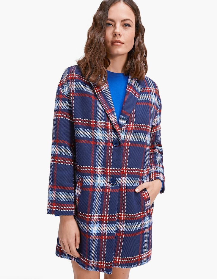 Checked coat with drop sleeves