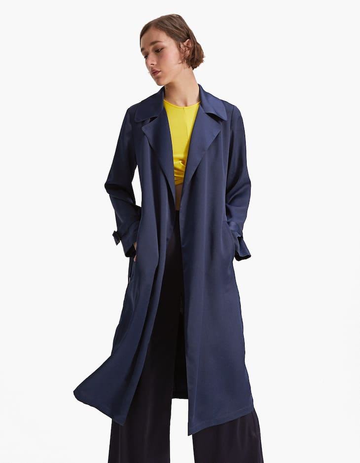 Long loose-fitting satin trench coat