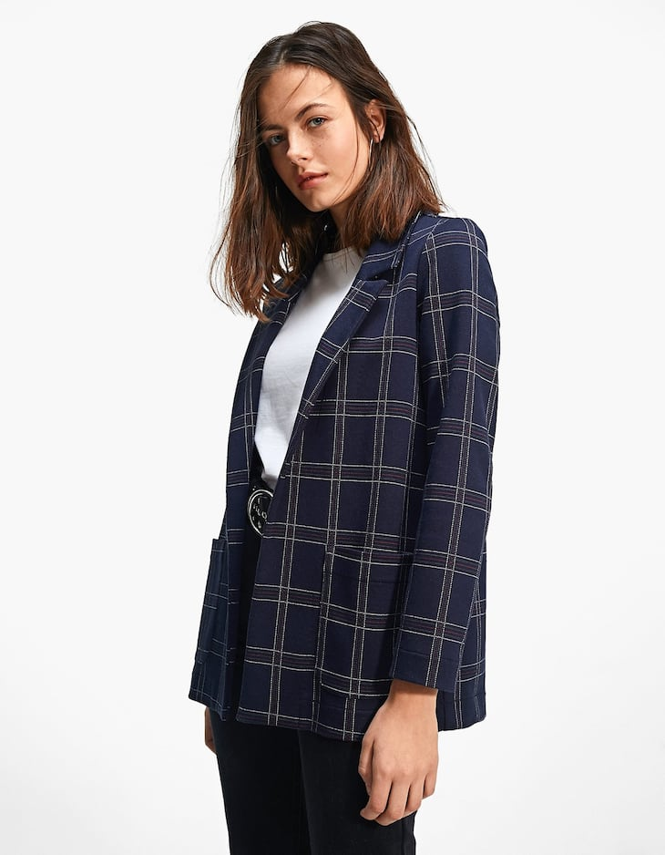 Checked navy blue blazer