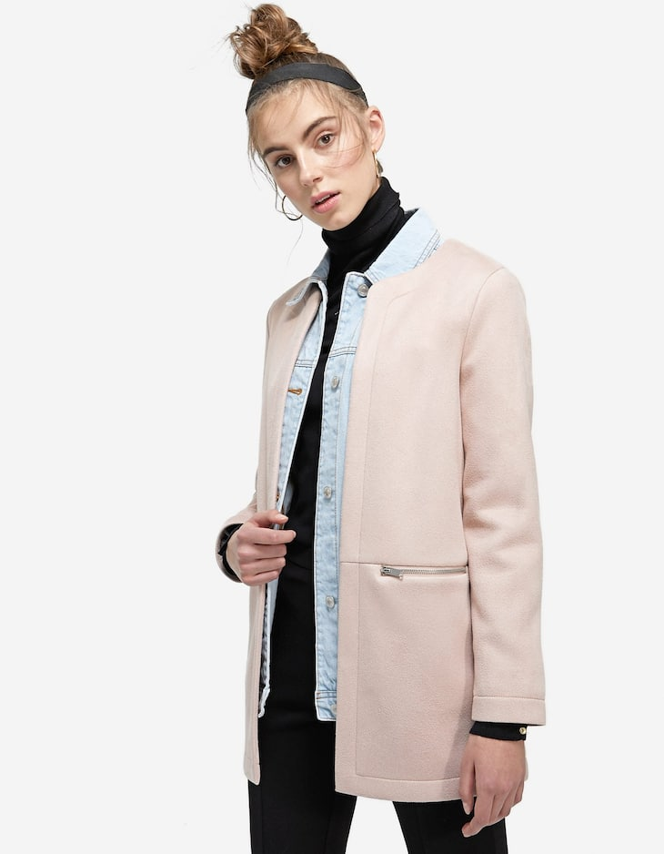Coat in two fabrics