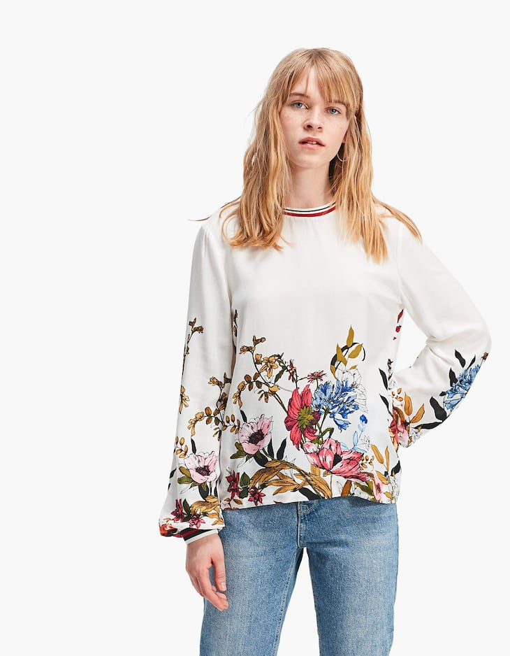 Printed sweatshirt with ribbed collar and cuffs