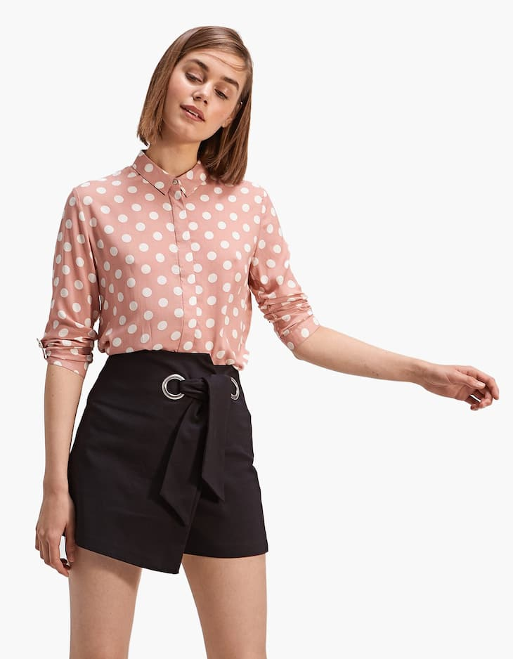 Chemise manches 3/4 pois