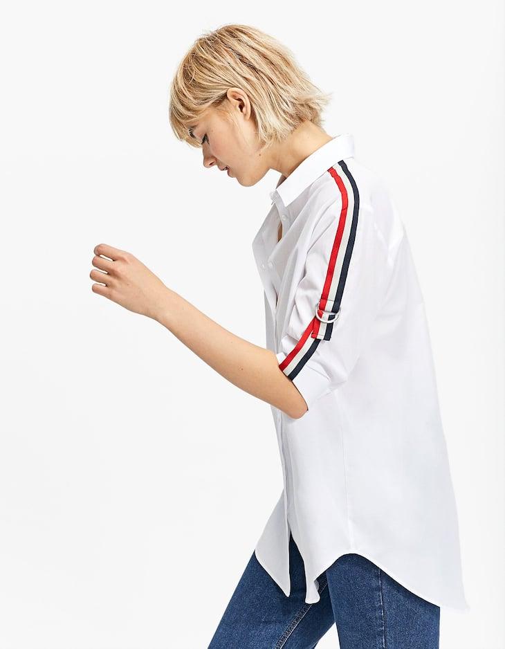 Укороченная рубашка из поплина с отделкой в рубчик
