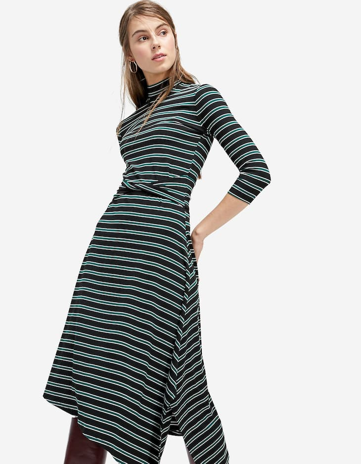 Striped crossover knit dress