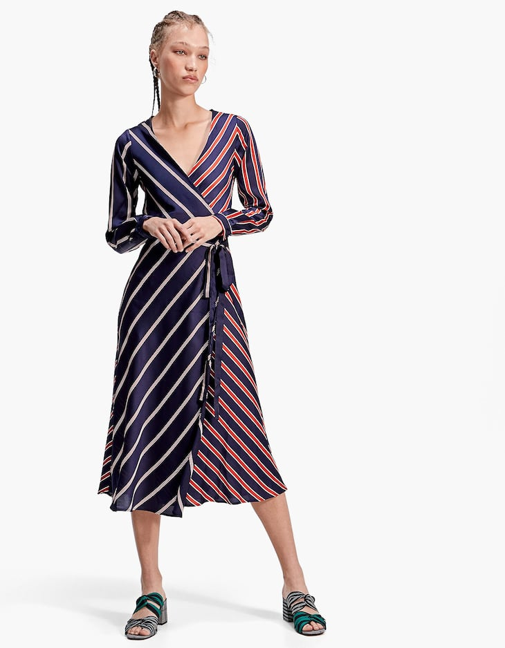 Stripe Satin Wrap Midi Dress