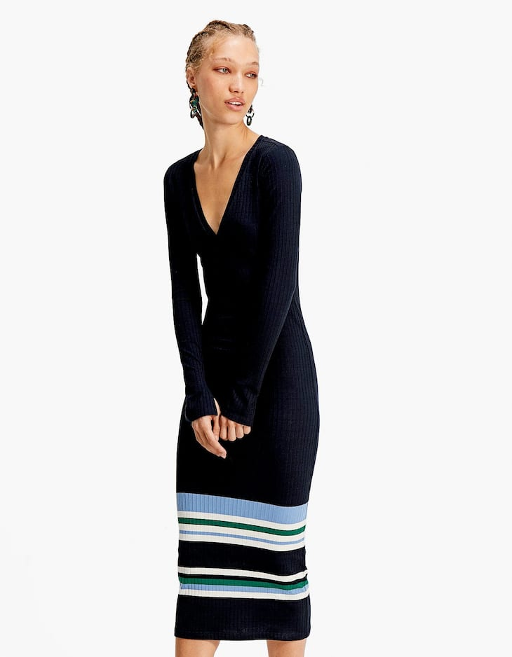 Ribbed dress with stripes on the hem