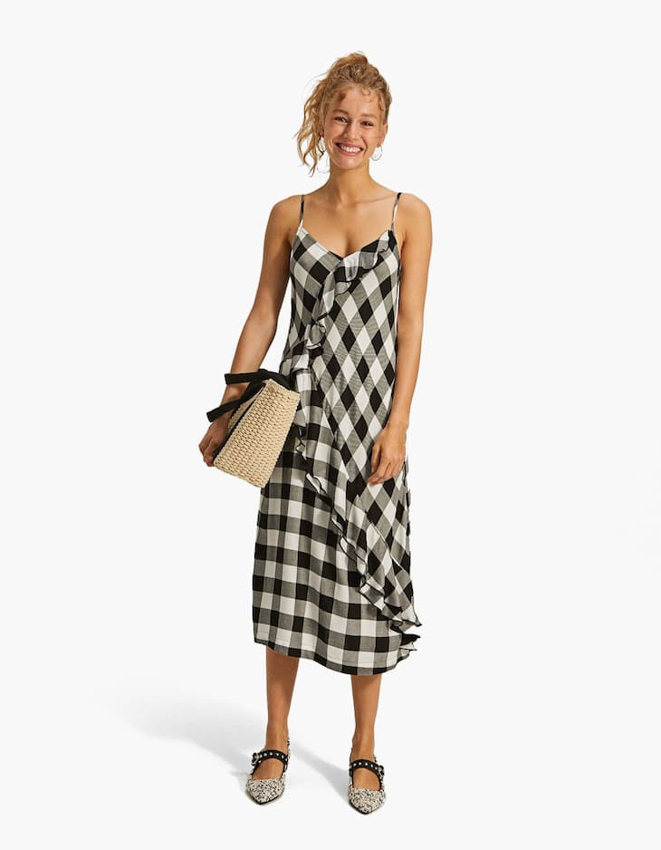 Checked slip dress with ruffle trims