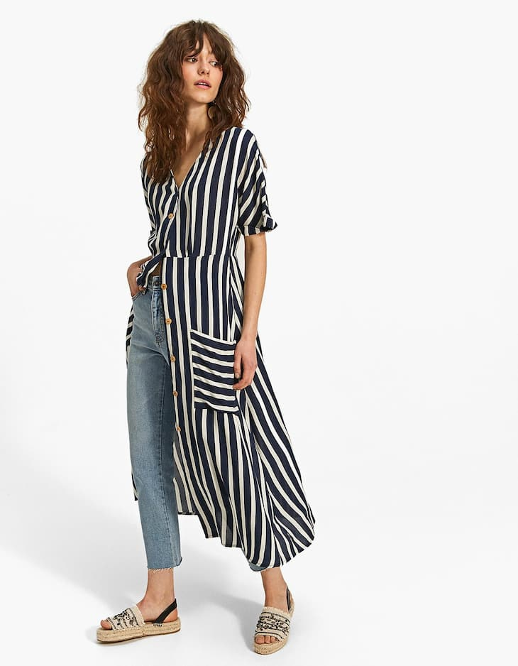 Striped shirt dress with buttons
