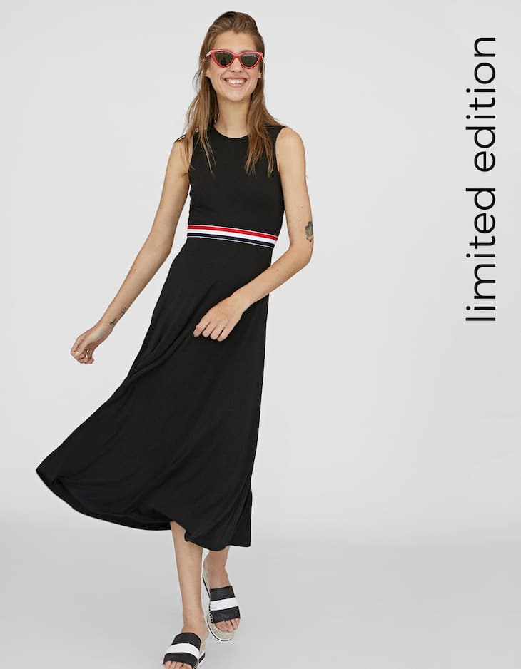 Dress with striped elastic waist