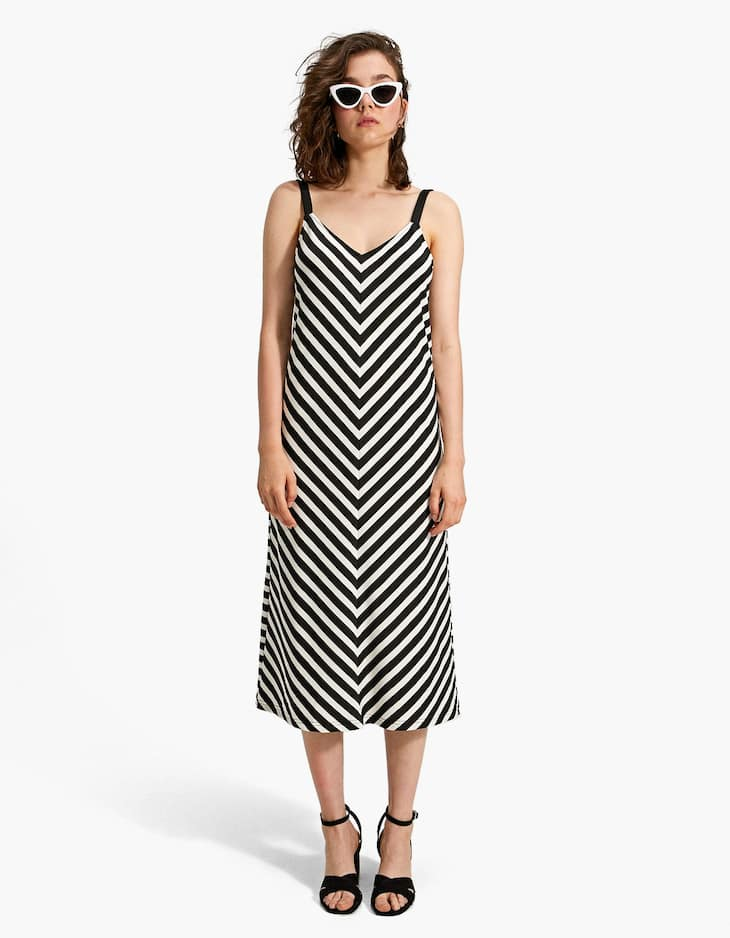 Long strappy dress with herringbone stripes