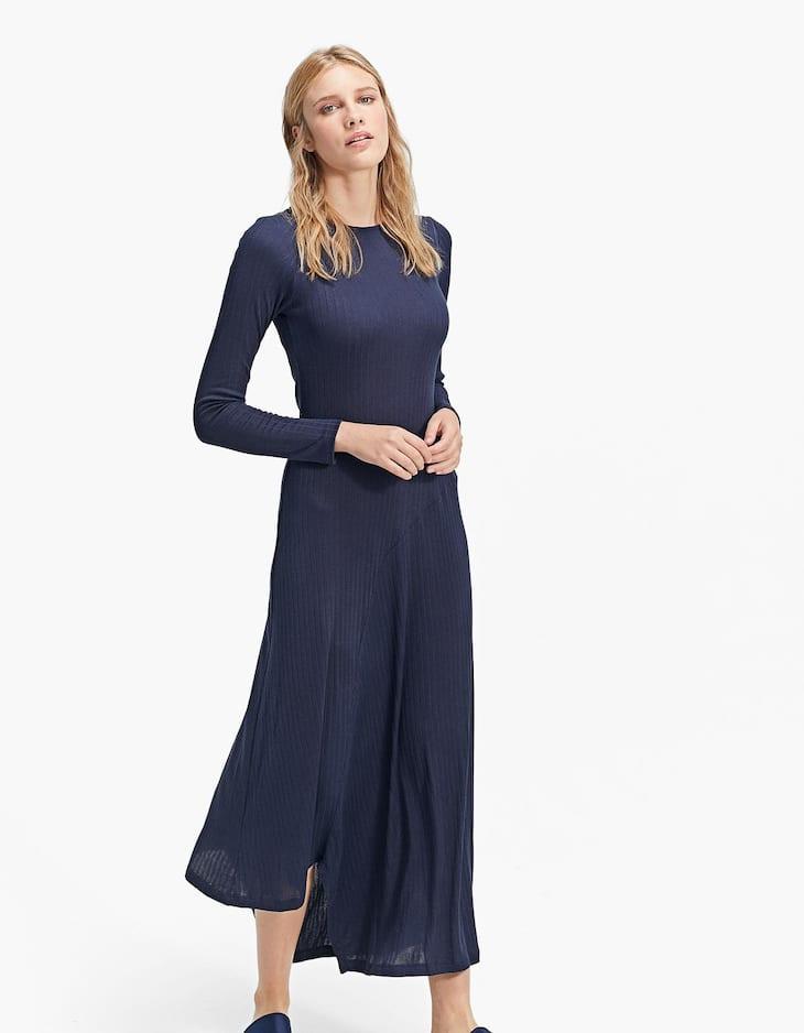 Long dress with irregular hem