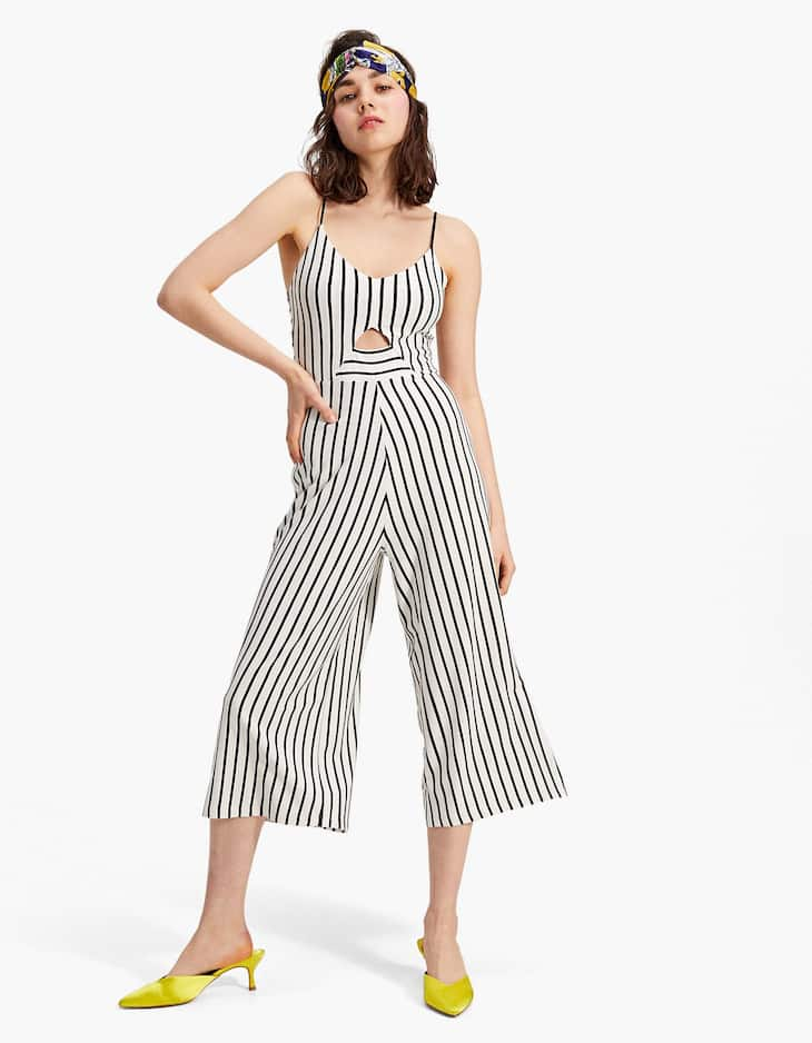 Striped strappy culotte jumpsuit