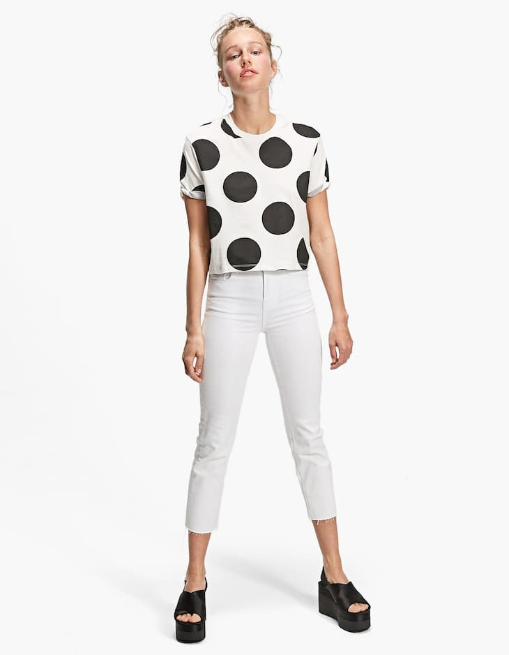 Polka dot cropped T-shirt