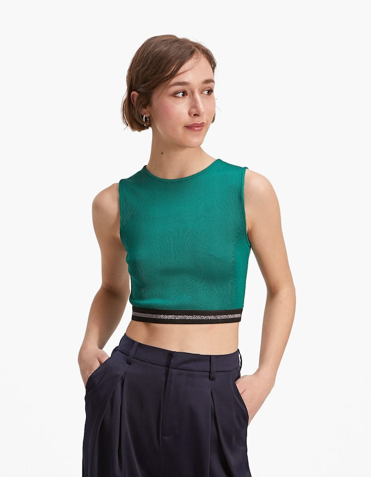 Crop top with stripes at the hem