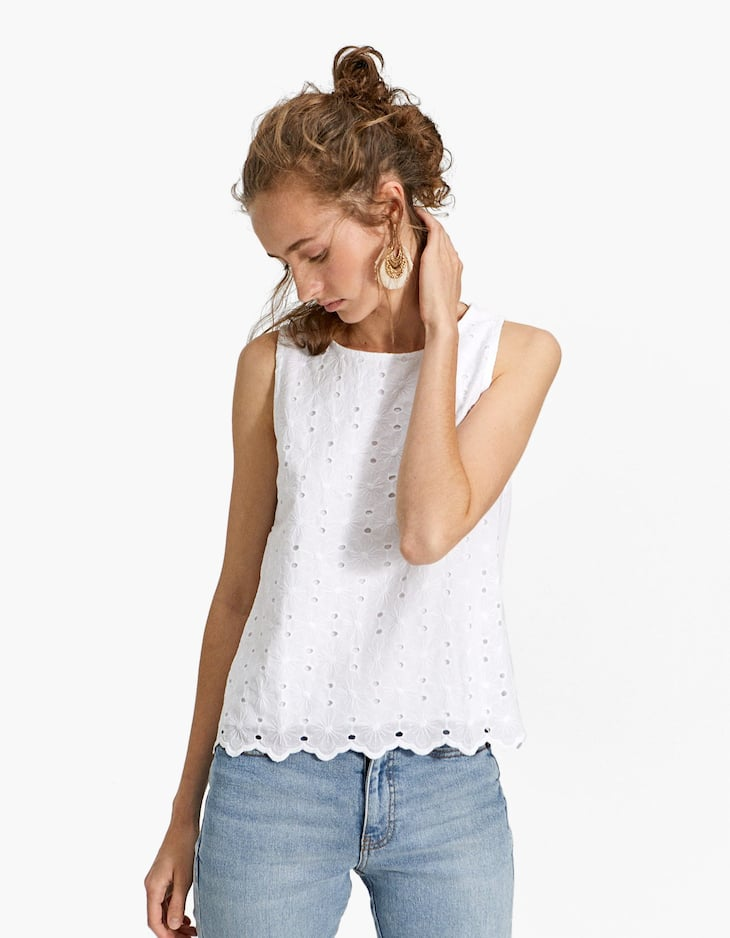 Top with embroidered front