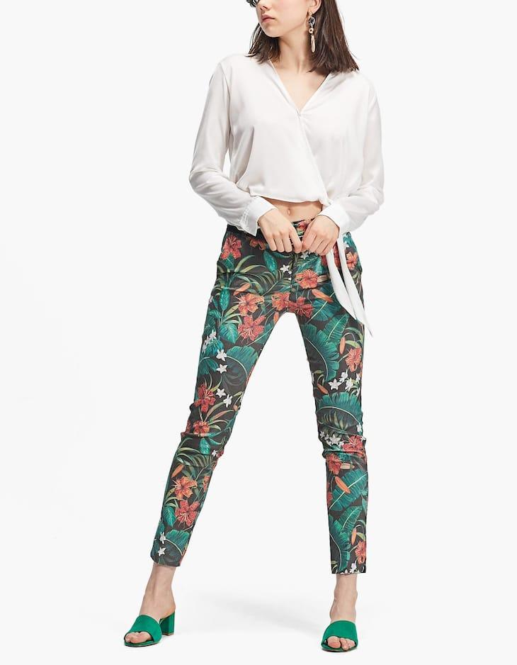 Pantalon habillé imprimé avec ceinture