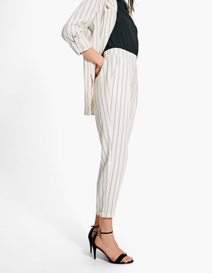 Stripe Peg Leg Trouser
