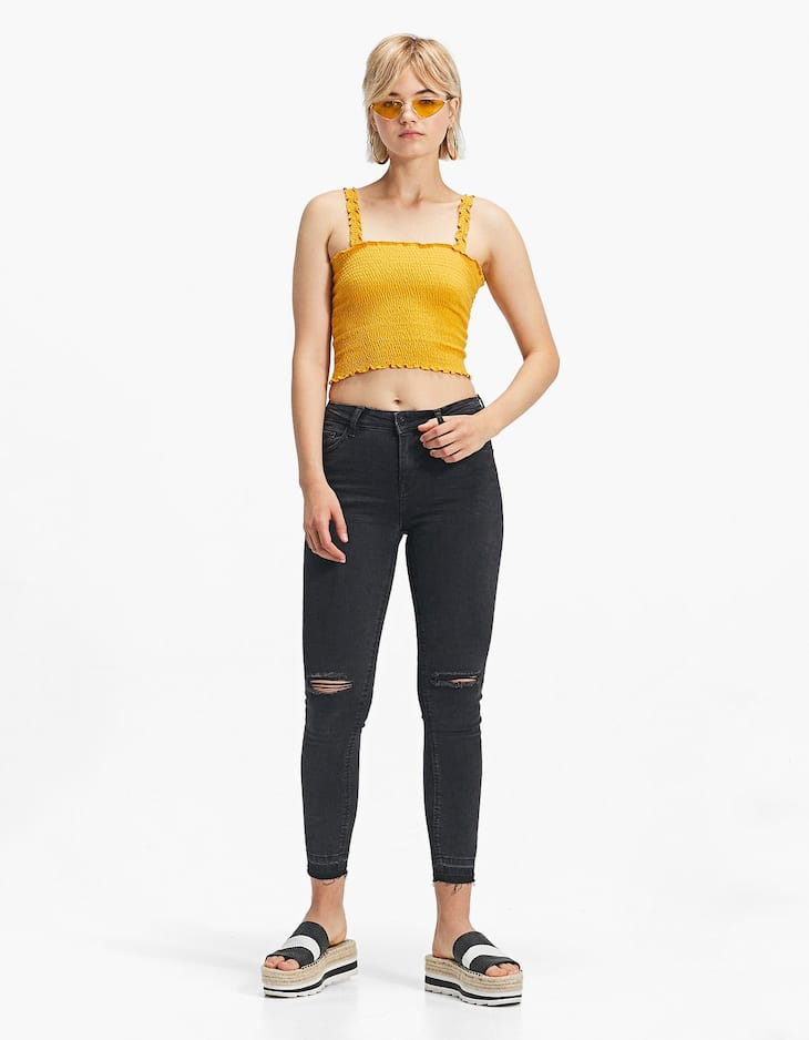 Pantaloni denim super high waist