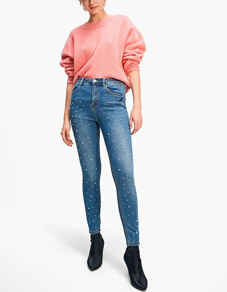 Super high waist jeans with faux pearls