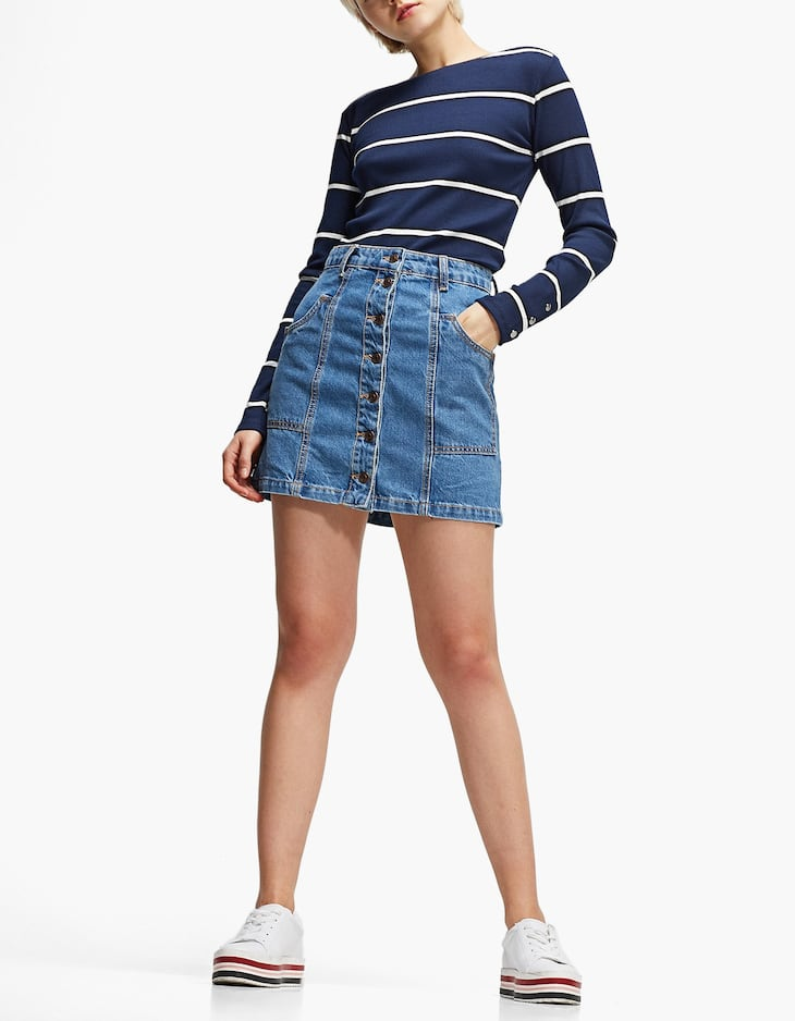 A-line button-up denim skirt