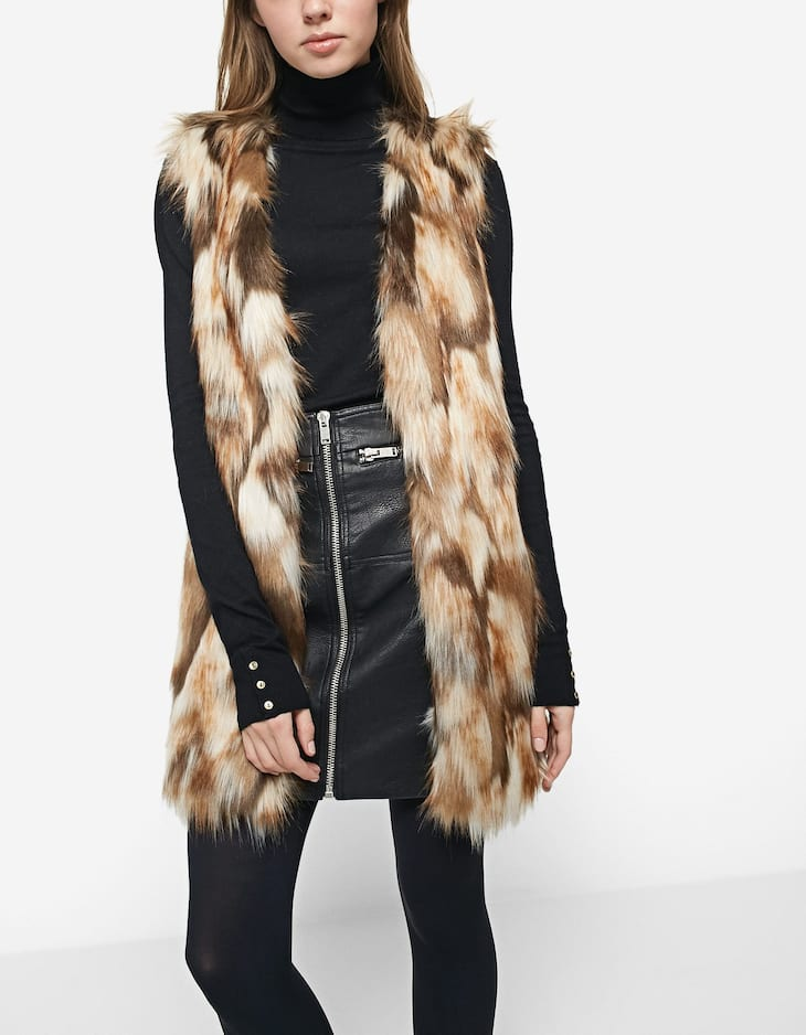 Smooth faux fur waistcoat
