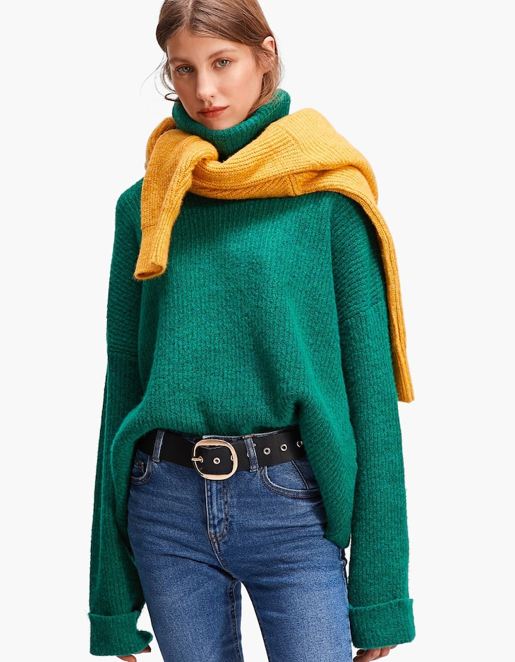 Polo neck sweater with rolled-up sleeves
