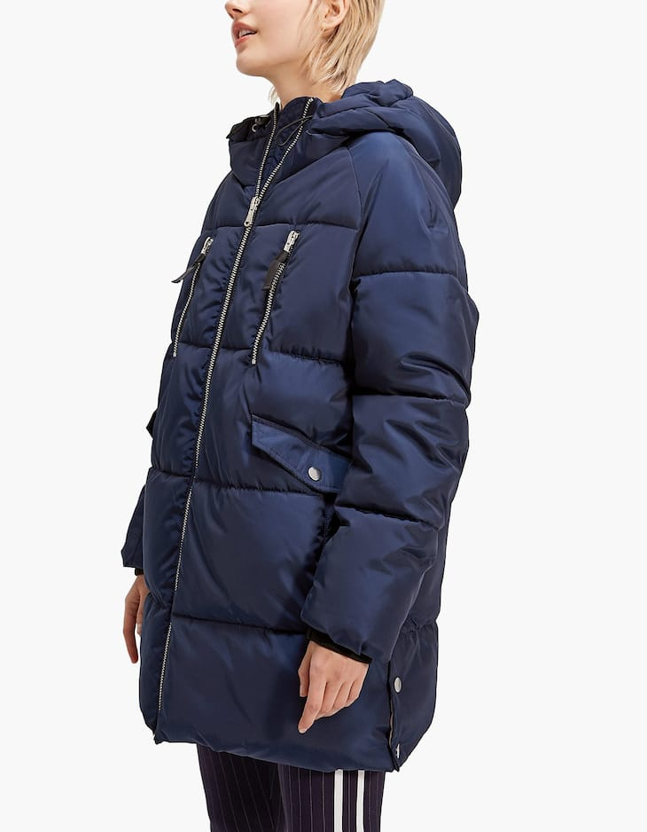 Anorak with false wraparound collar and hood