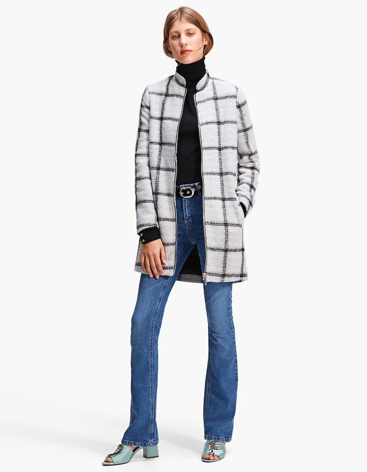 Checked knit coat
