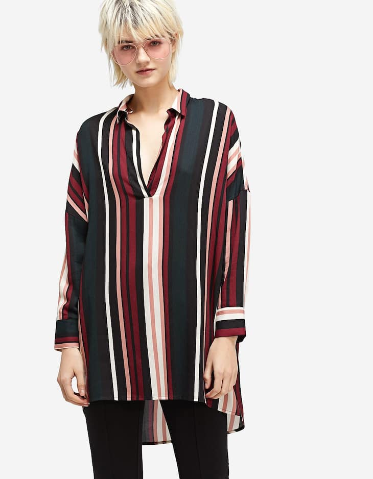 Bold Stripe V Neck Blouse