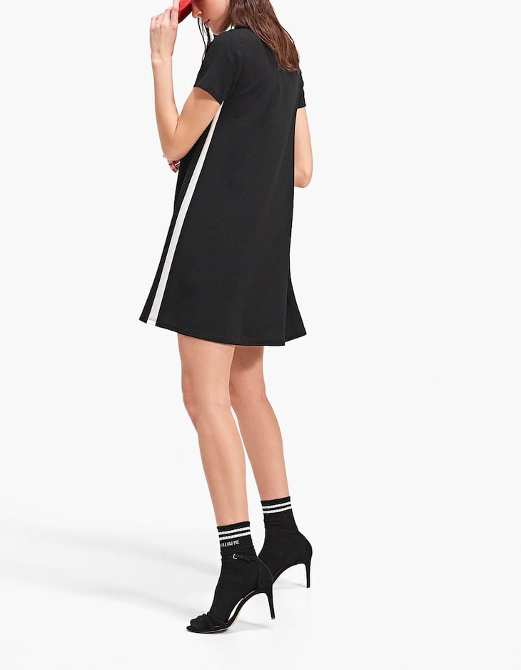 Dress with side stripe