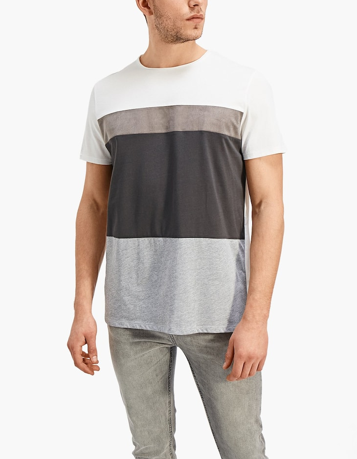 Colour block crew neck T-shirt