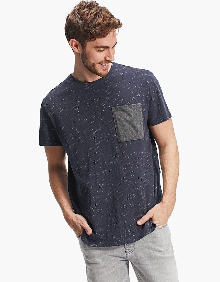 Navy blue slub knit T-shirt