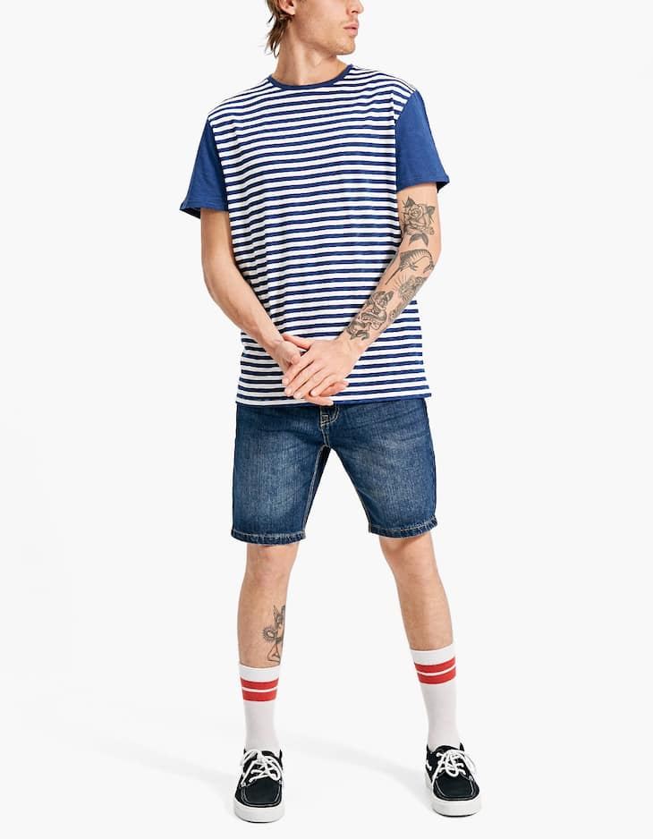 T-shirt with striped panels