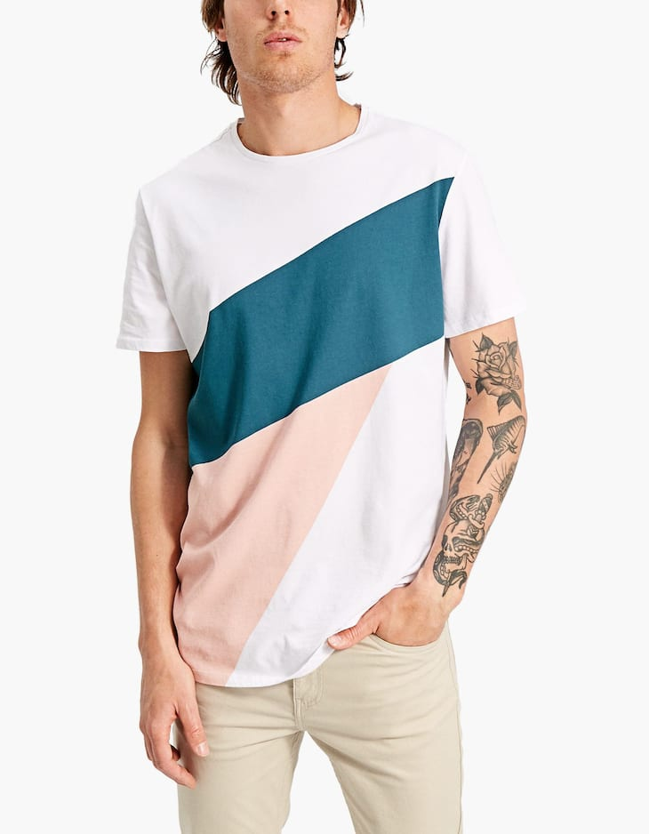 Short sleeve colour block T-shirt