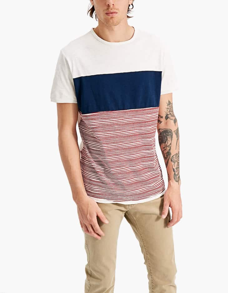 T-shirt with plain and striped panels