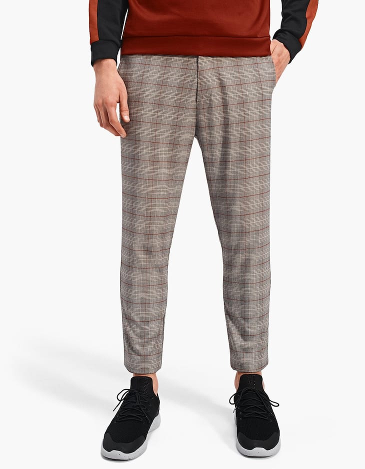 Checked slim fit jogging trousers