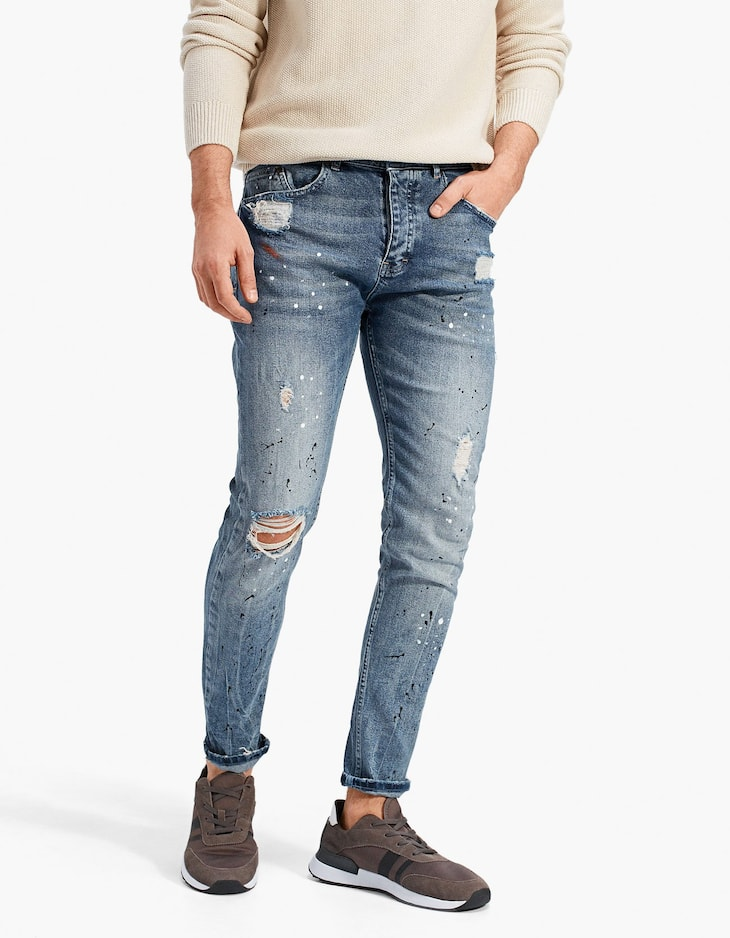 Paint splatter slim fit jeans