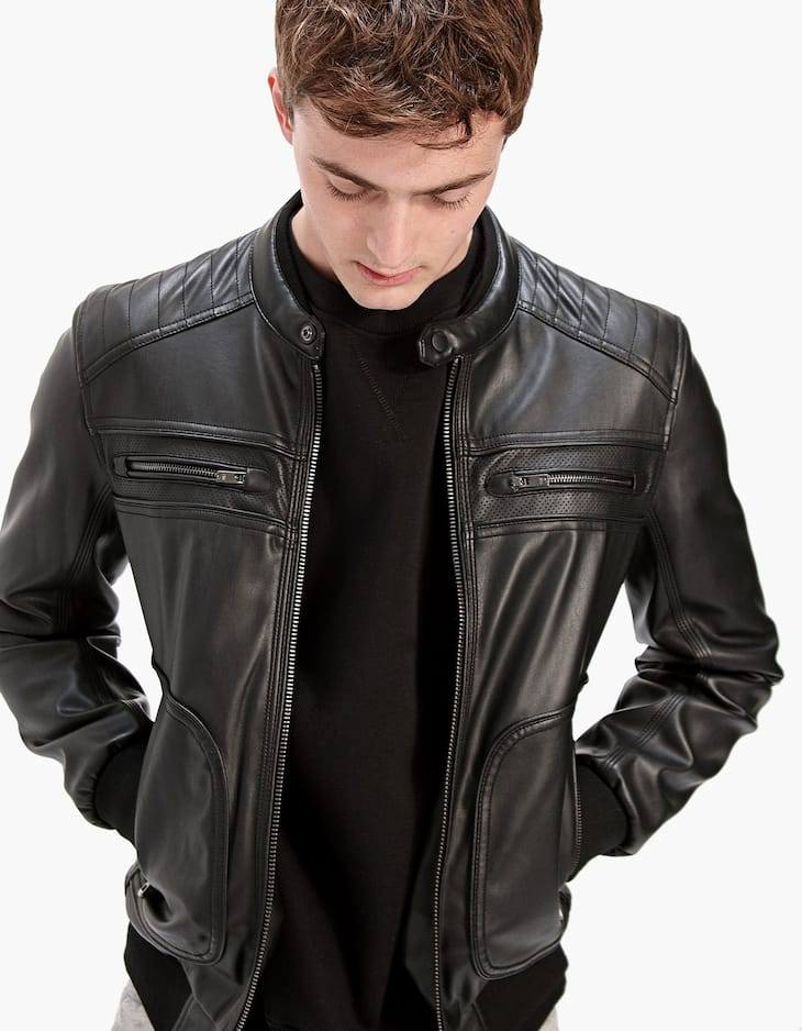 Leather-look full-zip biker jacket