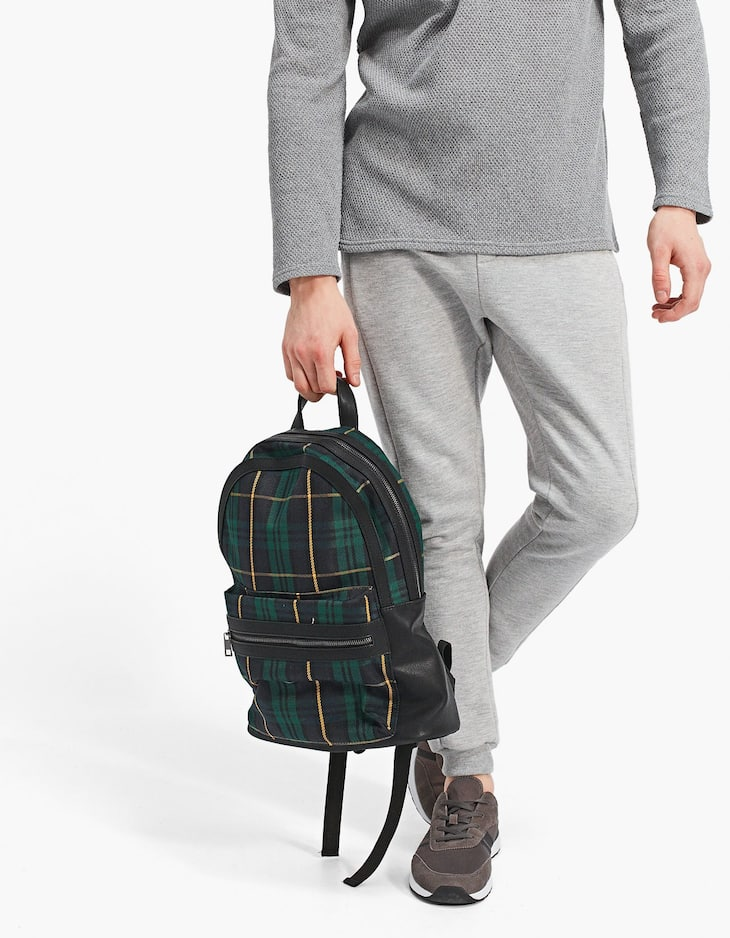 Tartan checked backpack
