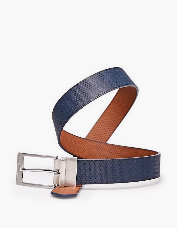 Reversible belt with silver-coloured buckle