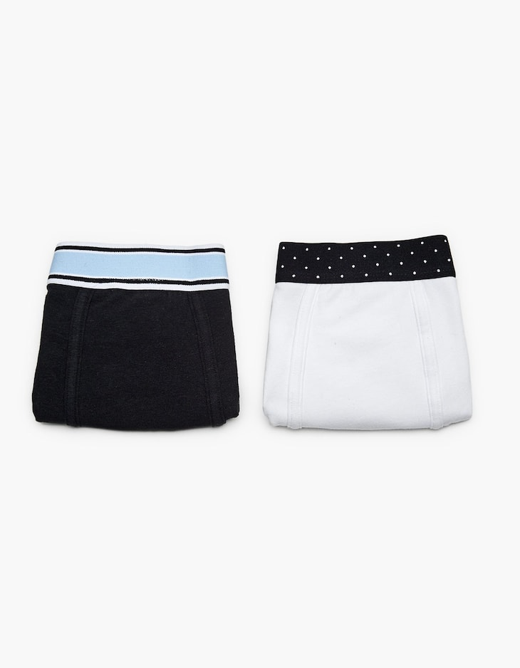 2-pack of polka dot and blue striped boxers