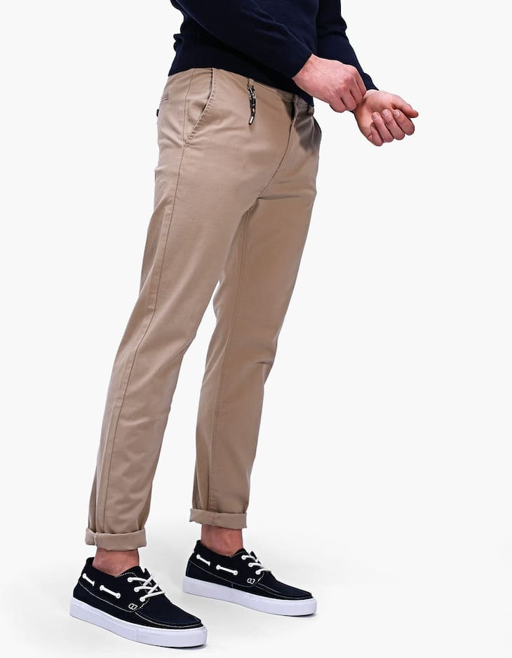 Skinny fit chino pantolon