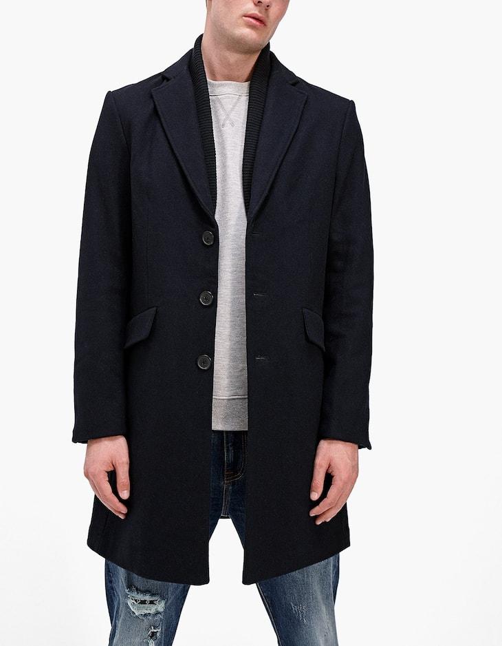 Palton cu guler din tricot