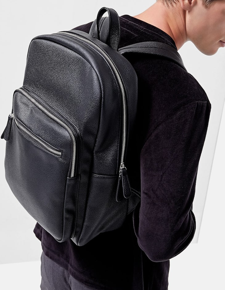 Faux leather backpack with front pocket